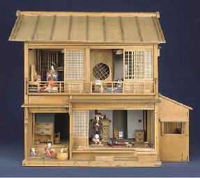 A rare plain wood Japanese doll's house