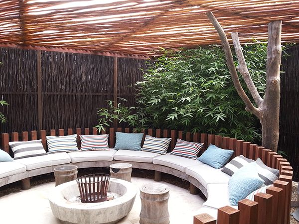 Lath pergola with rustic tree support. Pine and teak boma ... on Boma Ideas For Small Gardens id=43361