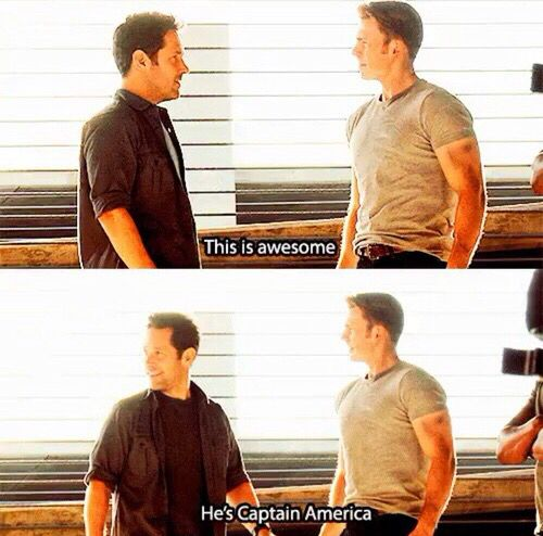 That one time where Scott Lang was literally every marvel fangirl everywhere. <<<I recently saw Paul Rudd speak at my university on being a part of Civil War and getting starstruck that he was in the same room as Chris Evans and RDJ.