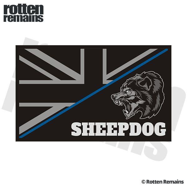 British Union Jack Subdued Flag Sheepdog Thin Blue Line Police Sticker Decal