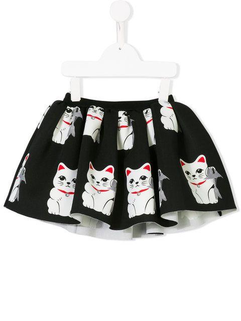 Shop Caroline Bosmans cat print skirt. Girls