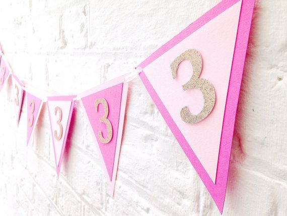 Pink and gold birthday bunting  Birthday banner personalised