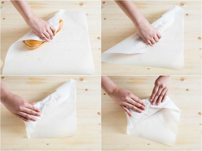 【手順】 1. この場合のワックスペーパーのサイズは、サンドイッチの1.5倍くらいの幅でOKです。サンドイッチをワックスペーパーの上に斜めに置き、下端を折り上げます。 2. サンドイッチを転がすようにペーパーをくるみ、左右の端を折りたたみます。
