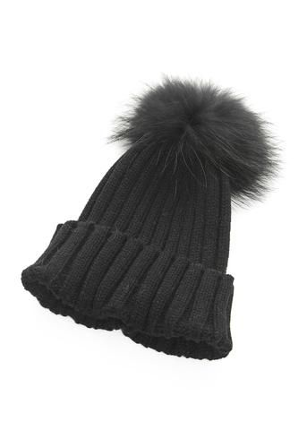 Black On Black Knitted Hat With Detachable Fur Pom Pom