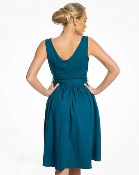 dc12a153a563eb Lindy Bop 50er Jahre Retro Vintage Petticoat Kleid - Delta - Petrol Blau