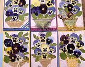 Real Pressed Pansy Card Set of 6 Made With Handmade, Glitter and Specialty Paper, Wood. Acacia Leaves, Sack Cloth and Satin Ribbons