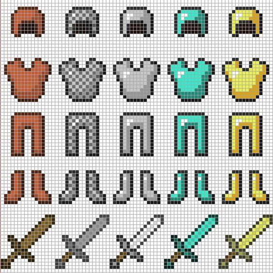 Minecraft Armor & Swords​ perler bead pattern: