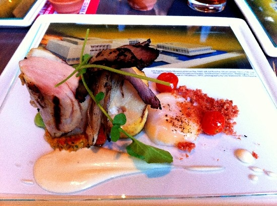 Dish inspired by famous Ed Ruscha painting LACMA on Fire, as part of John Sedlar's PST menu