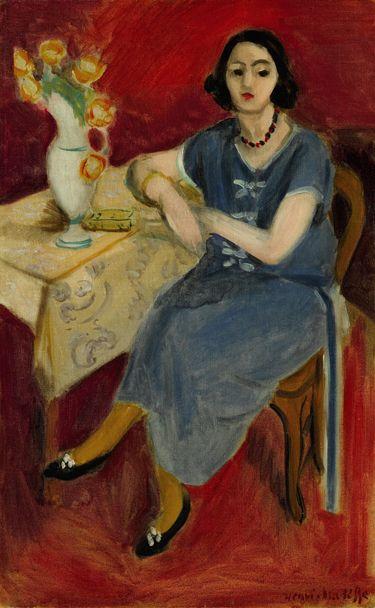 Henri Matisse, Femme en bleu à table, fond rouge, 1923, oil on canvas. Estimate: $5 million–$7 million; unsold. COURTESY SOTHEBY'S