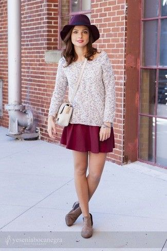 Women's Grey Mohair Crew-neck Sweater, Burgundy Skater Skirt, Brown Suede Chelsea Boots, Beige Leather Crossbody Bag