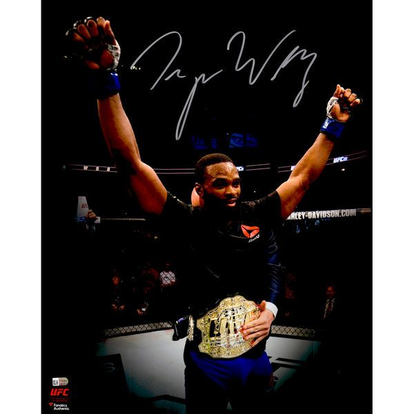 """Tyron Woodley Ultimate Fighting Championship Fanatics Authentic Autographed 16"""" x 20"""" UFC 201 Raising Arms Photograph - $49.99"""