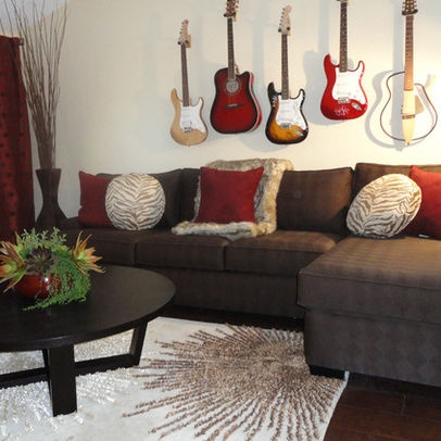 Living Room With Guitars On The Wall