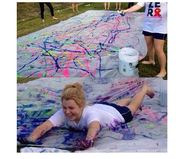 Paint slip and slide. this would be a great party! or fun thing to do with the kids next time they come stay!
