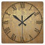 Vintage Gold Egyptian Hieroglyphics Paper Print Square Wall Clock  #Clock #Egyptian #Gold #Hieroglyphics #Paper #Print #RusticClock #Square #Vintage #Wall The Rustic Clock