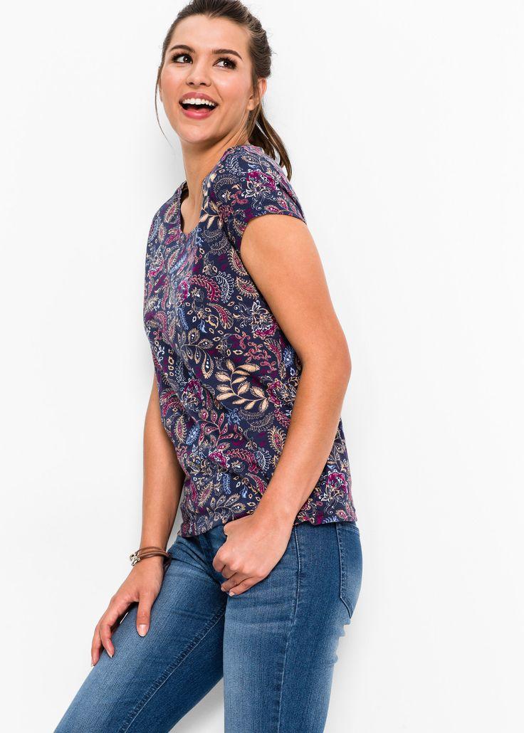 Shirt, bedruckt, Kurzarm dunkelblau bedruckt - John Baner JEANSWEAR jetzt im Online Shop von bonprix.de ab ? 8,99 bestellen. Länge in Gr. 40/42 ca. 66cm, ...