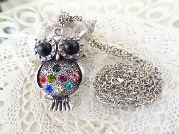 Owl Necklace Black Owl Necklace Multicolor by sevinchjewelry