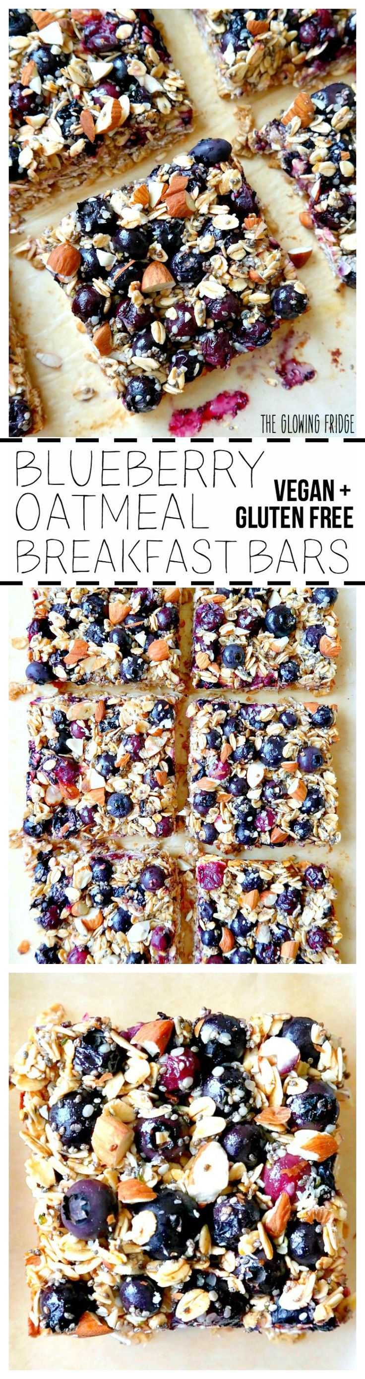 VEGAN & GF. 'Blueberry Oatmeal Breakfast Bars' that are wholesome, super clean, nutritionally balanced, naturally sweetened and have the added superfood goodness of chia seeds and hemp seeds! Eat one square alongside a smoothie for breakfast or as a yummy post-workout snack. From The Glowing Fridge. #vegan #breakfast #bar