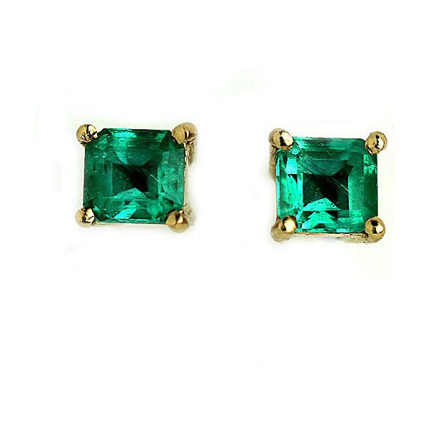 Emerald Earrings Vintage Natural Emerald Stud Earrings .80ctw Gemstone... ($2,000) ❤ liked on Polyvore featuring jewelry, earrings, 80s jewelry, gemstone earrings, vintage earrings, emerald earrings and emerald green earrings