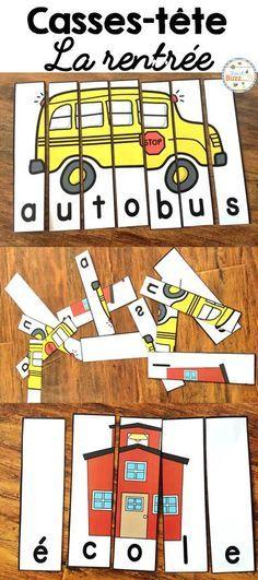 30 puzzles sur les mots de la rentrée scolaire. Activité de casses-tête qui peut être jouée dans les centres de littératie.