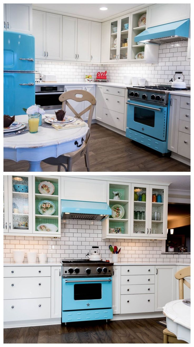 Fresh flowers add a splash of colour to this dining space from houzz - Add A Pop Of Color To Your Kitchen With Bluestar Cookers Loving The Colors In