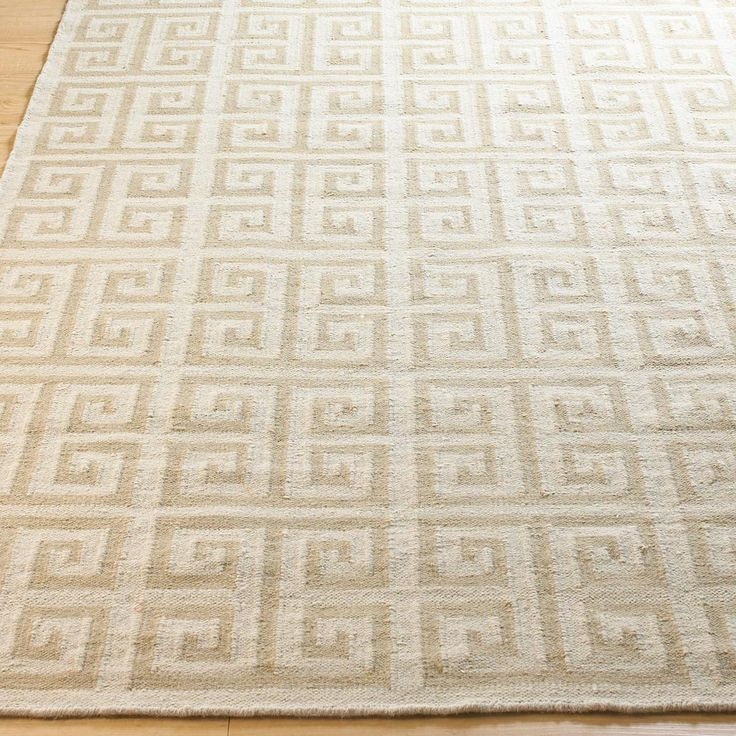 Greek Key Dhurrie Rug Available In 3 Colors: Sea Blue