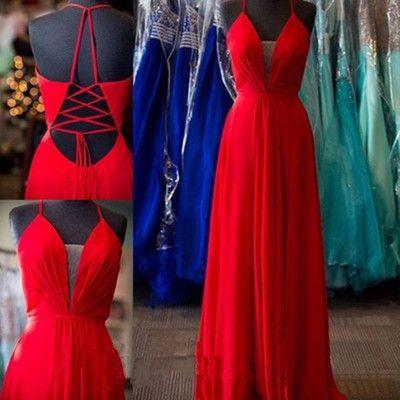 Simple a-line long red chiffon prom dress evening dress