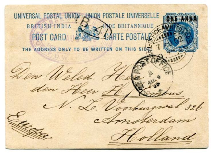 """INDIA  (Boer War) 1902 1a Indian stationery card addressed to Holland cancelled at Amritsar with violet triple oval """"PASSED CENSOR/ 7 AUG 1902/ FORT GOVINDGARH/ BOER POW ENCLOSURE"""" A scarce cachet."""