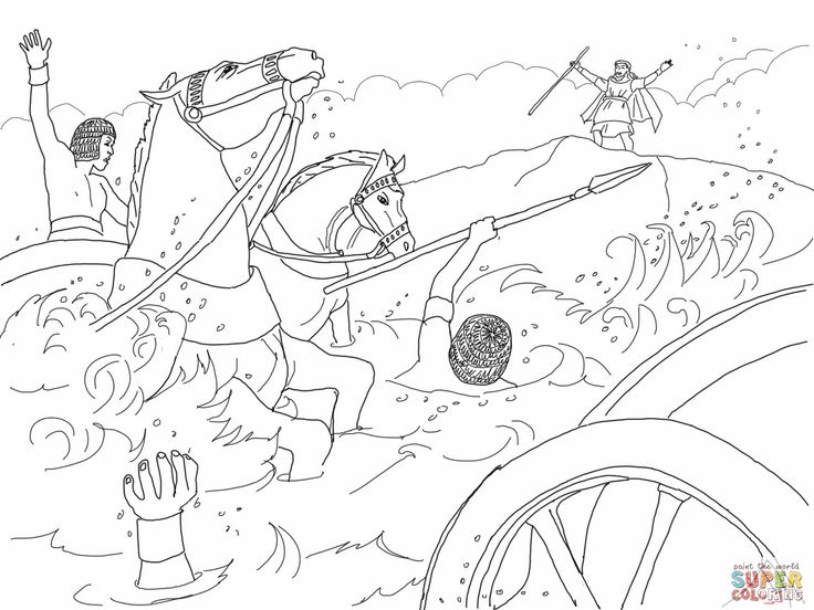 Pharaoh 39 s army drowned moses crossing the red sea bible for Crossing the red sea coloring page