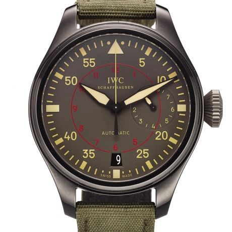 IWC REF. 5019 BIG PILOT TOP GUN MIRAMAR CERAMIC International Watch Co., Schaffhausen, Die Grosse Fliegeruhr, Automatic, case No. 5111519, Ref. 501902. Made in 2011, sold December 1st, 2012. Fine, large, center seconds, self-winding, water-resistant, ceramic aviator's wristwatch with 7-day power reserve, date and a stainless steel IWC buckle. Accompanied by the warranty card, instruction manual, spare strap and polishing cloth.