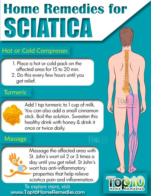 Prev3 of 3Next post 9. Acupuncture Acupuncture is another effective natural treatment to relieve sciatica pain, relax the muscles and help your body heal itself. Another theory is that by stimulating certain acupuncture points, the central nervous system is also stimulated, in turn triggering the release of chemicals that either change the perception of pain