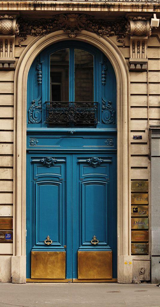 Paris doorway in beautiful teal blue.