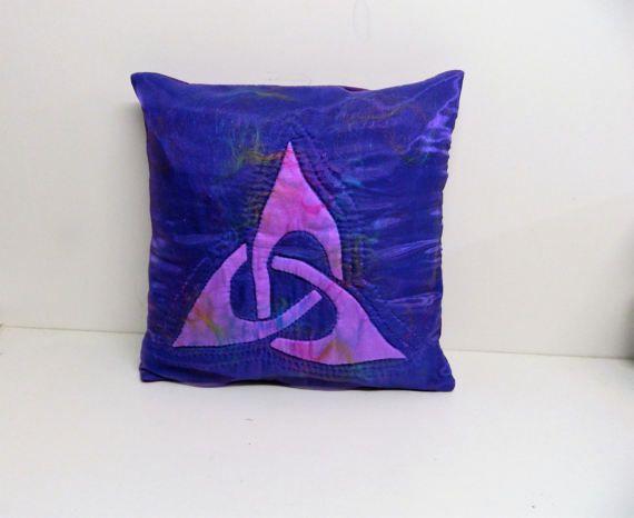 Celtic design Purple cushion cover Appliqué shape Sofa