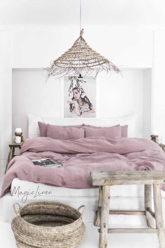 Linen Bedding Set In Woodrose Dusty Pink King Queen Washed Linen Duvet Cover Set With 2 Pillowcases Chambre A Coucher Idee Deco Chambre Parental Deco Chambre A Coucher