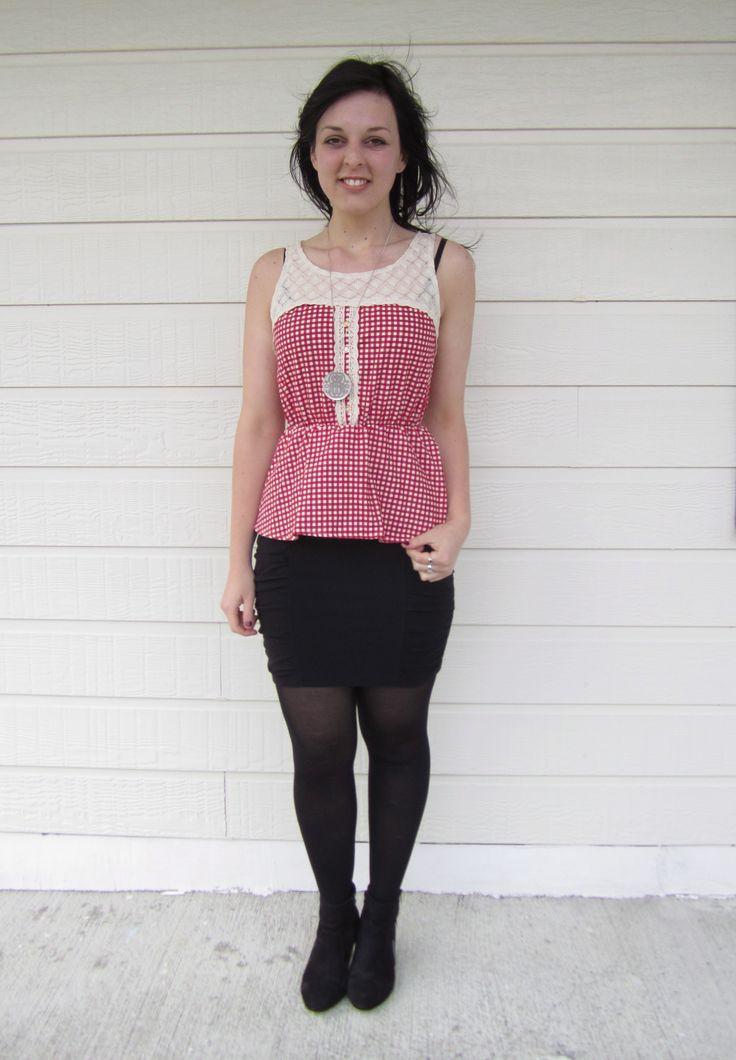 Red and White Checkered Top Size 10 $14.99