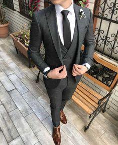 7ee997202b993 Terziademaltun - İtalyan stil slim fit ceket yelek pantolon koyu gri takım  elbise T2976 (1