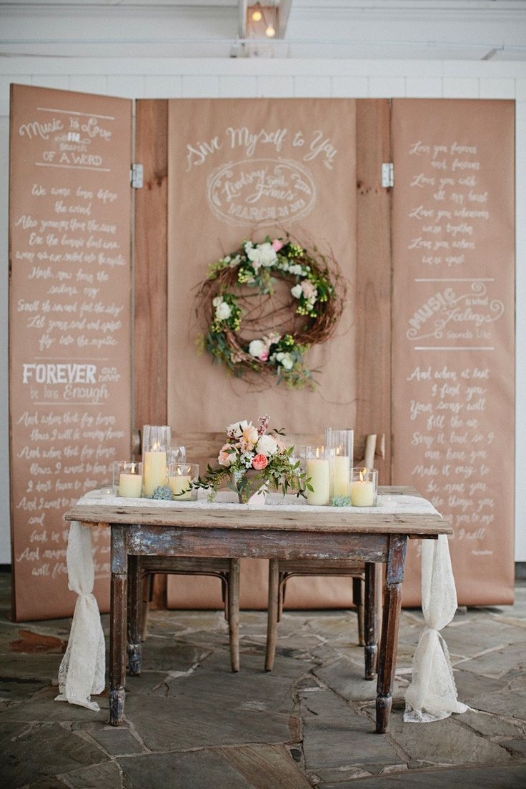 We could use kraft paper panels with love quotes etc. (or nothing and let guests write on them) hang from fishing line along walls as a cover up of walls - could maybe make look like barnboard - wrap bathroom doors with it to resemble old outhouse doors