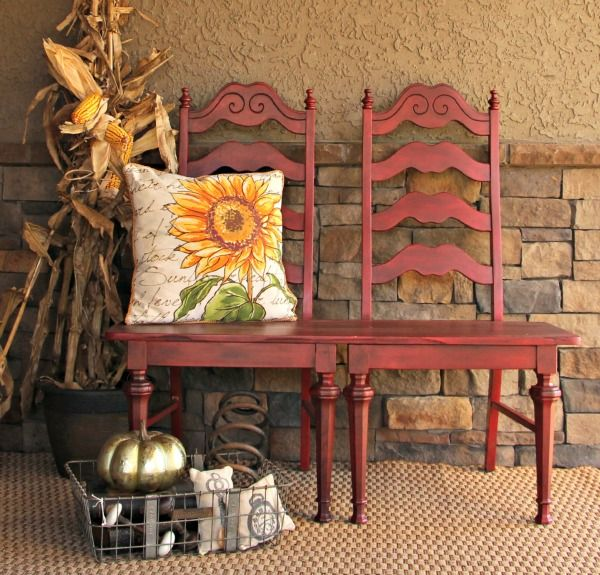 How To Make A Bench Out Of 2 Repurposed Chairs Wooden