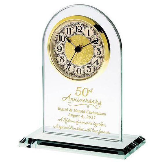 50th Wedding Anniversary Gold Glass Clock 50th Wedding Etsy In 2020 50th Anniversary Gifts 50 Wedding Anniversary Gifts Anniversary Gifts For Parents