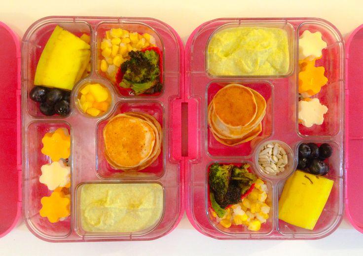banana, blueberries, corn kernels, crispy broccoli, banana pancakes ...