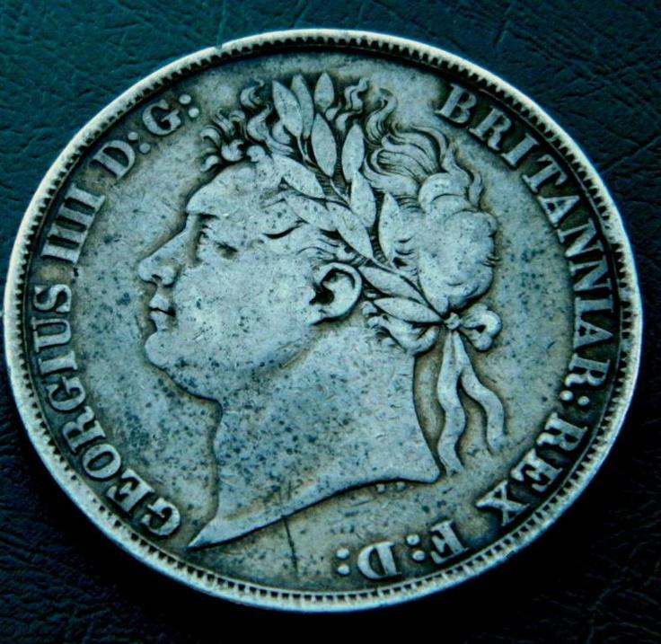 Англия Крона 1821 Георг IV всадник дракон СЕРЕБРО Crown Georg IV 1821 auction