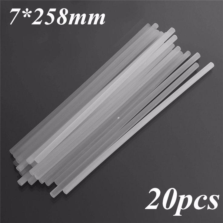 20pcs 7x258mm caliente barras de pegamento de fusión en palo de joyas pegamento translucidez de fusión en caliente pegamento en barra