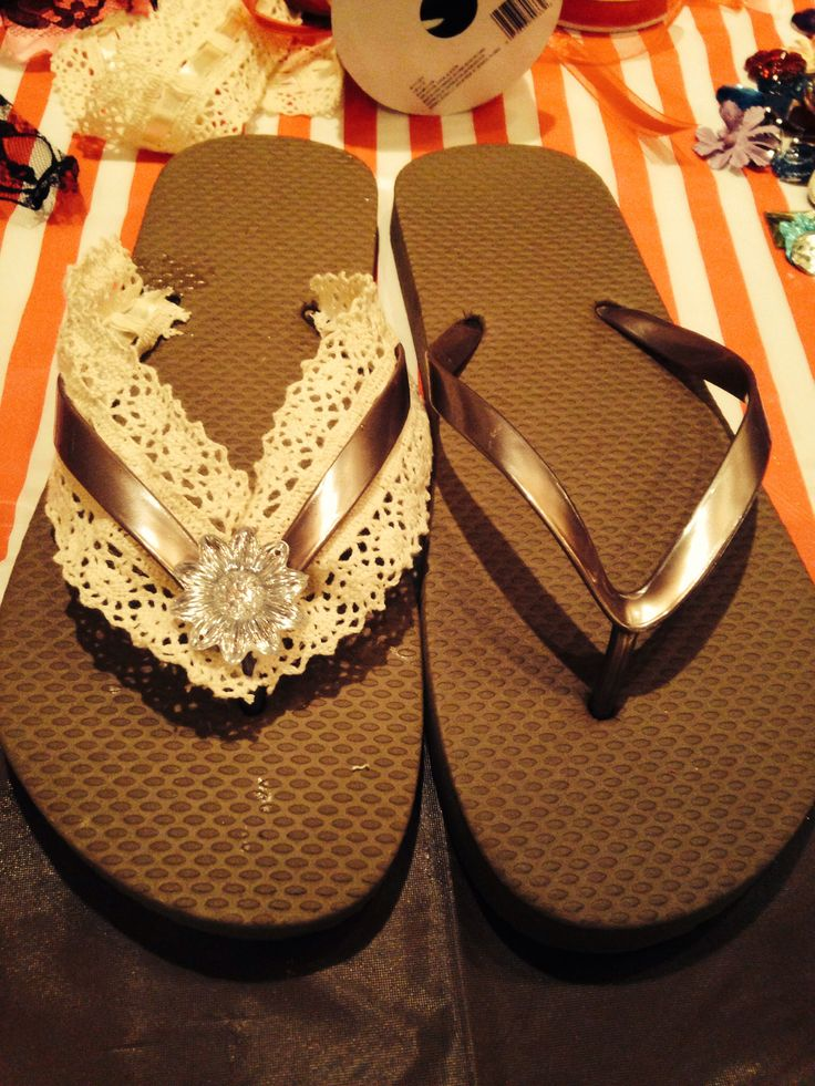 Turn cheap flip flops from boring to beautiful: all u need is flip flip glue, ribbon of your choice and pretty much whatever else u want to stick on!! There really are no rules- I took lace and glued it to the underside of the flip flop's strap, and added a simple gem. Be creative!!