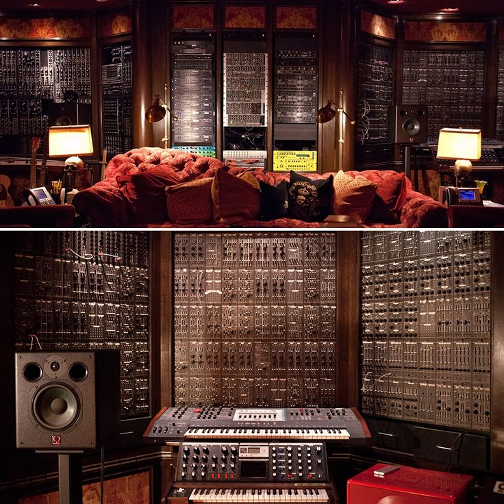 "Hans Zimmer's studio ~ where Hollywood's Music Maestro gets his ideas ~ film composer for almost 30 years, Zimmer has been nominated nine times for an Oscar, and won once ~ instruments have been and will be played, and often: ""If it doesn't make a good noise, it shouldn't be in here."" ~ custom computer workstations and lots of analog gear which he bought by the pound when everyone was going digital (Roland delivered a truck load of System 100m modules for $25 per kilogramm)"
