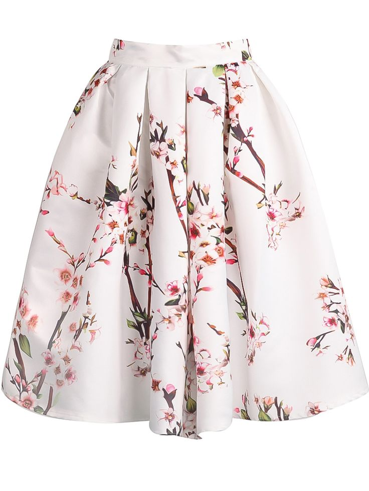 Jupe plissée motif fleuri -blanc -French SheIn(Sheinside)