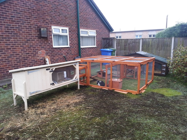 A Single Rabbit and Guinea Pig Hutch 6x2x2ft connected to a 8x6x3ft Run by a Tunnel from Boyle's Pet Housing.