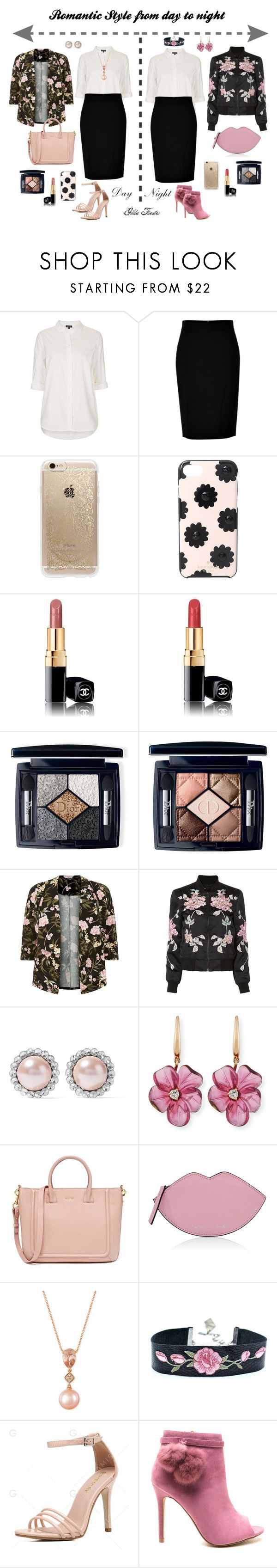 """Romantic Style from day to night"" by gildafuentesb on Polyvore featuring Topshop, DKNY, Rifle Paper Co, Kate Spade, Chanel, Christian Dior, 3x1, Miu Miu, Rina Limor y Kendall + Kylie"