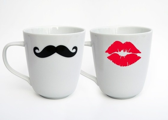 Mustache And Kiss Mug (Set Of 2)   Variety Of Designs $22.00