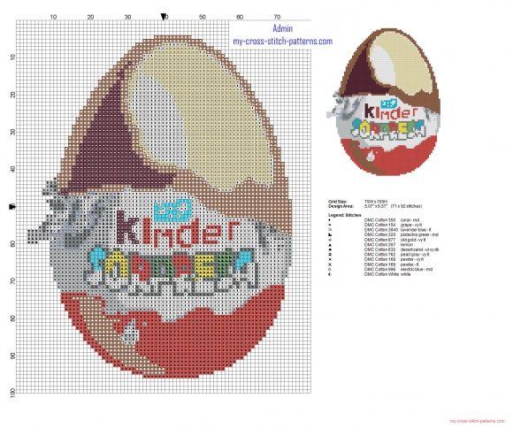 Kinder Sorpresa Huevo Kinder patron esquema punto de cruz altura 100 (click to view)