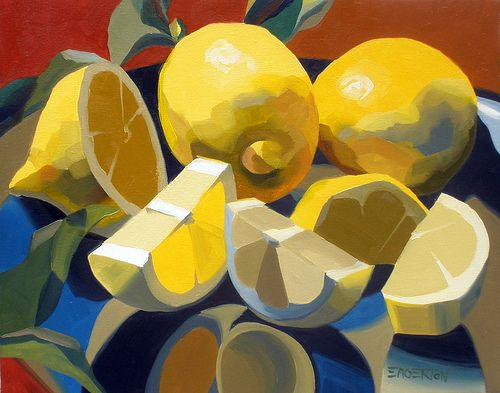 Lemon and Leaves by Leigh-Anne Eagerton, painting