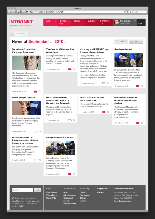 Intranet ux intranet homepage pinterest for News section design